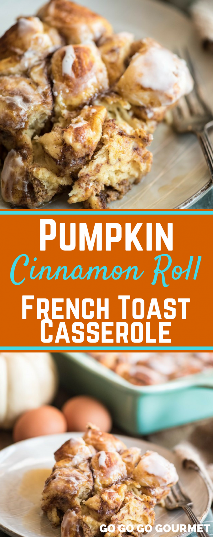 This Pumpkin Cinnamon Roll French Toast Casserole is full of fall flavor and warm spices. It's one of my favorite easy brunch recipes! Made with two cans of cinnamon rolls and baked to perfection, this is a breakfast recipe you will want to make over and over! #pumpkincinnamonrollfrenchtoast #fallrecipes #pumpkinrecipes #brunchrecipes #gogogogourmet via @gogogogourmet