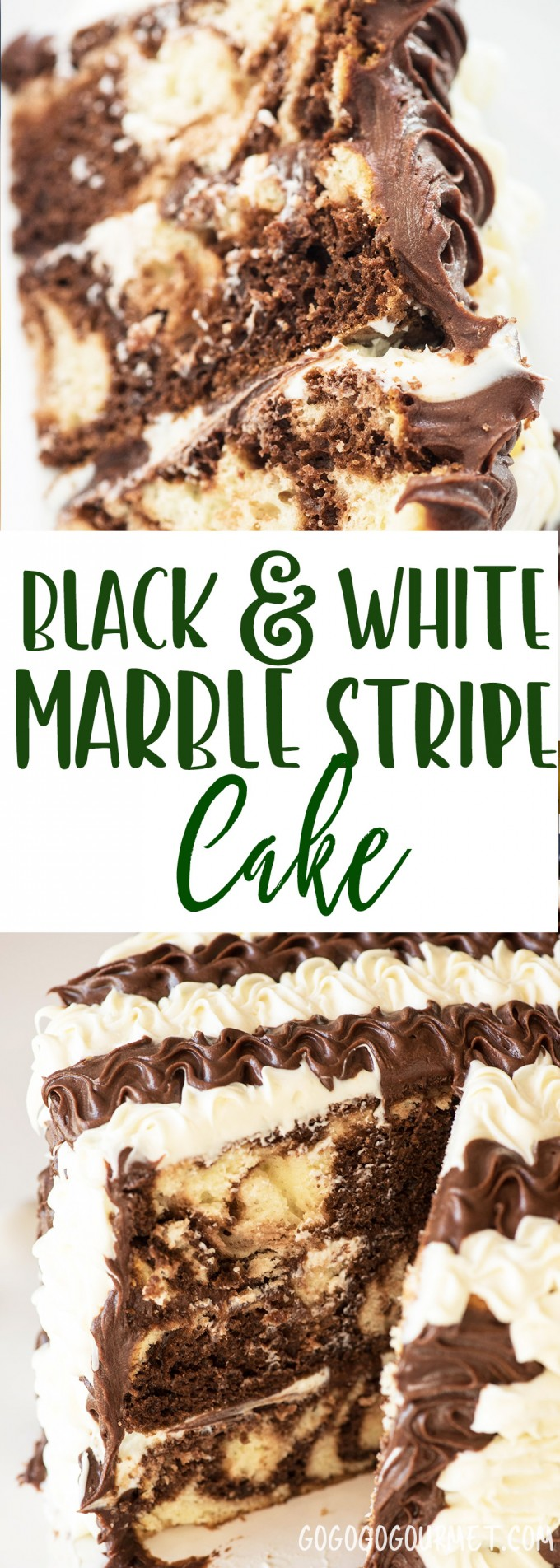 This Black and White Stripe Marble cake is a breeze to do and a total show stopper! via @gogogogourmet