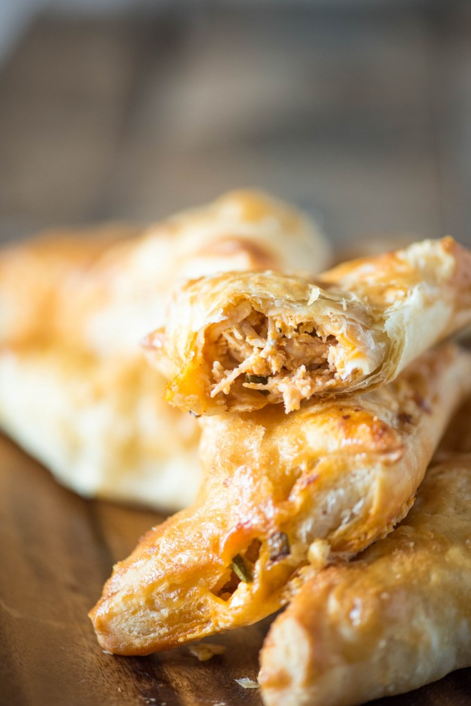 Buffalo Chicken Pockets are stuffed with rotisserie chicken, buffalo sauce, blue cheese and green onion, wrapped in puff pastry! | @gogogogourmet