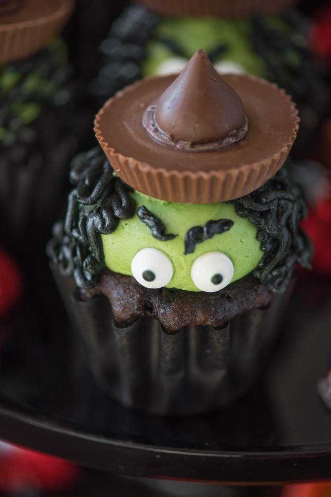 Close up of a witch cupcake
