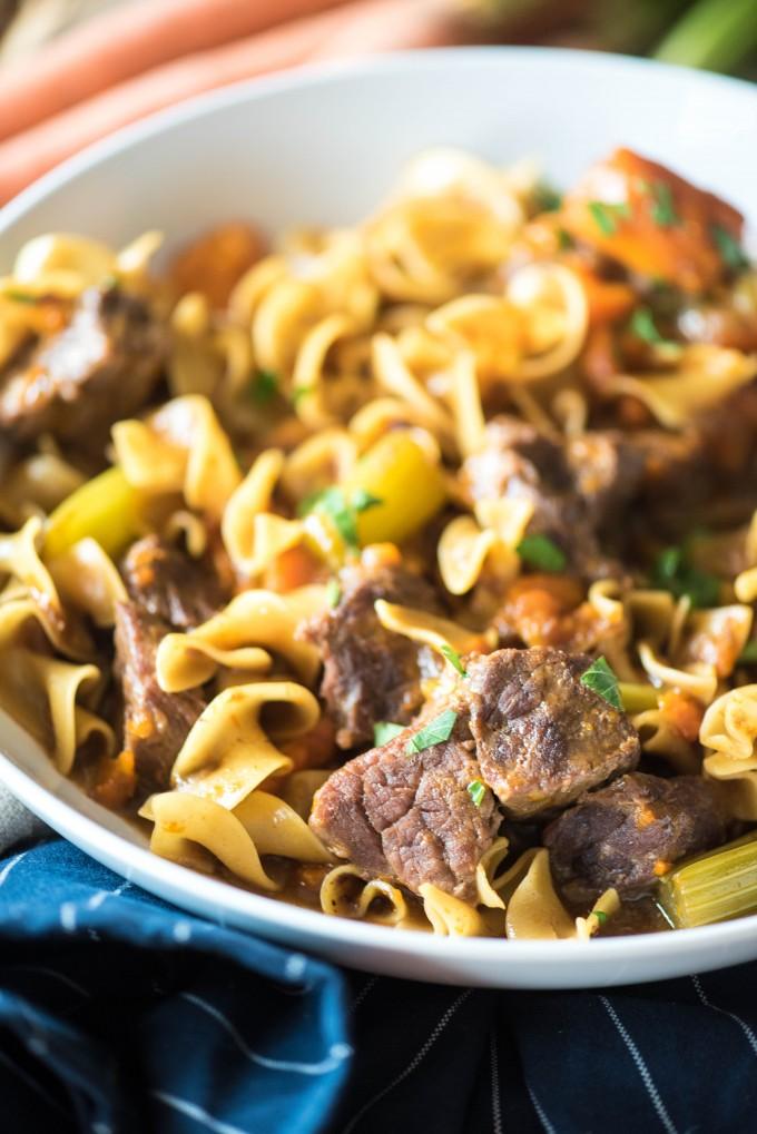 Instant Pot Beef Stew Pasta | @gogogogourmet