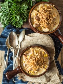 Potato Corn Chowder with bacon- perfect to ease from summer to fall! | @gogogogourmet