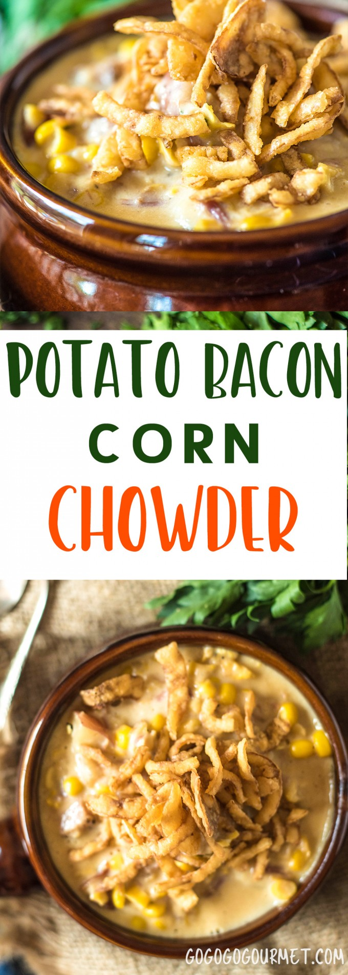 This Potato Corn Chowder with Bacon is the perfect soup to ease from summer into fall. Use summer's sweet corn to make this hearty soup!