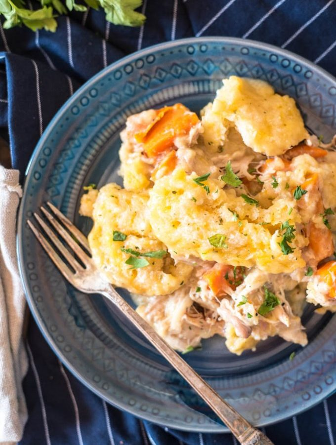 Slow Cooker Chicken and Dumplings (Cheddar Bay Biscuits)