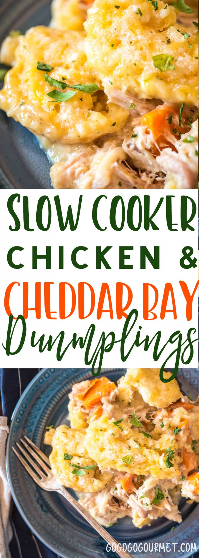 These Slow Cooker Chicken and Dumplings have a special, not-so-secret ingredient for the dumplings- Red Lobster Cheddar Bay Biscuits! via @gogogogourmet