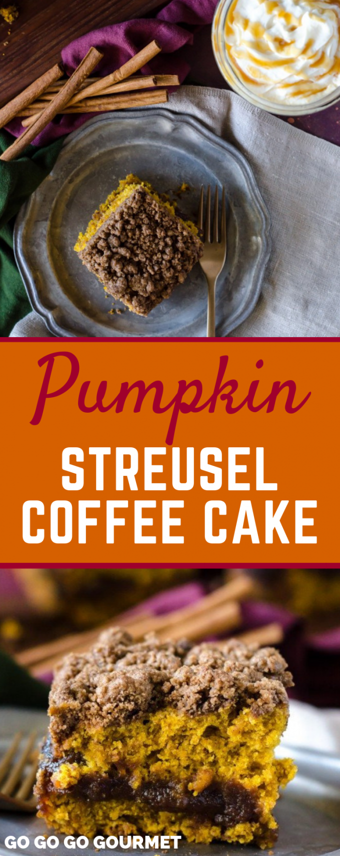 This Pumpkin Coffee Cake is one of the best fall recipes! Chock full of cinnamon with an apple butter filling, it is so moist and delicious. Topped with streusel that's super easy to make, you can't go wrong! #pumpkinstreuselcoffeecake #easyfalldesserts #pumpkinrecipes #gogogogourmet