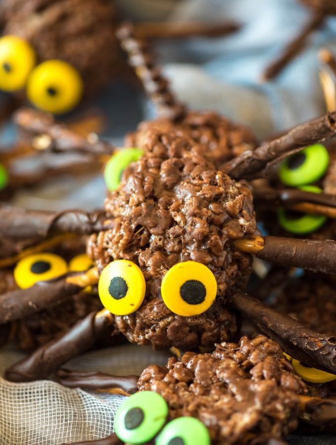 Halloween Chocolate Peanut Butter Rice Krispie Spiders