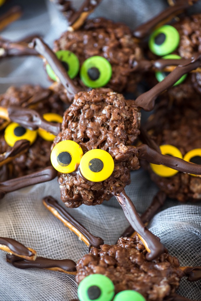 chocolate peanut butter rice treat spider with yellow eyes