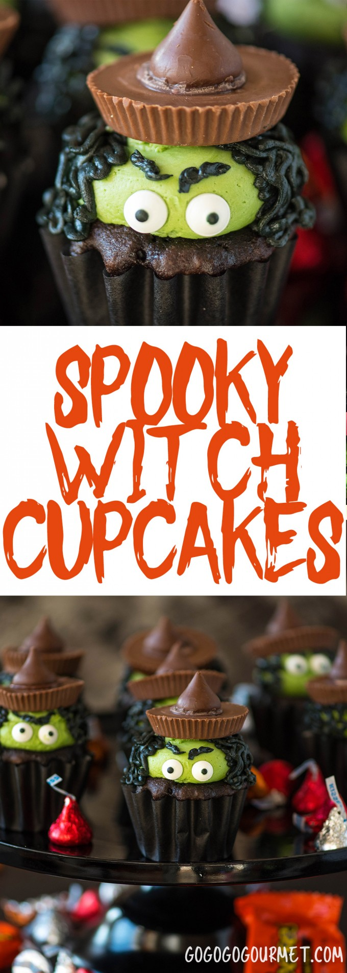These Witch Cupcakes are an adorable Halloween cupcake idea! Super easy to do with candy eyes and favorite Halloween treats!