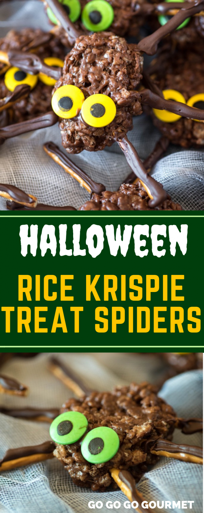 If you're looking for fun recipes for Halloween, look no further! Forget the pumpkins and ghosts, these Chocolate Peanut Butter Rice Krispie Spiders easy enough for the kids to help with, and yummy too! One of the best Halloween desserts ideas ever! #gogogogourmet #chocolatepeanutbutterricekrispiespiders #halloweentreats #halloweendesserts  via @gogogogourmet