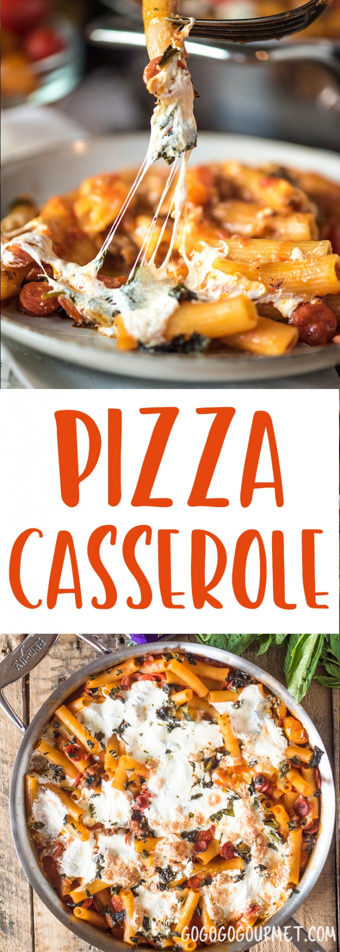 This Pizza Casserole is loaded with everything that you love about pizza! Sausage, pepperoni and fresh mozzarella are baked with rigatoni for a fast dinner!