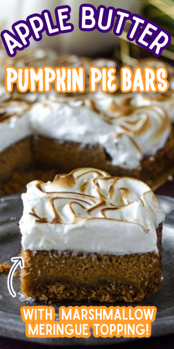 These Apple Butter Pumpkin Pie Bars with Marshmallow Meringue Topping make the perfect fall dessert for the holidays! Thanksgiving and Christmas won't be the same without this easy recipe on your dessert table! #gogogogourmet #applebutterpumpkinpiebars #pumpkinbars #pumpkinrecipes #thanksgivingdesserts via @gogogogourmet