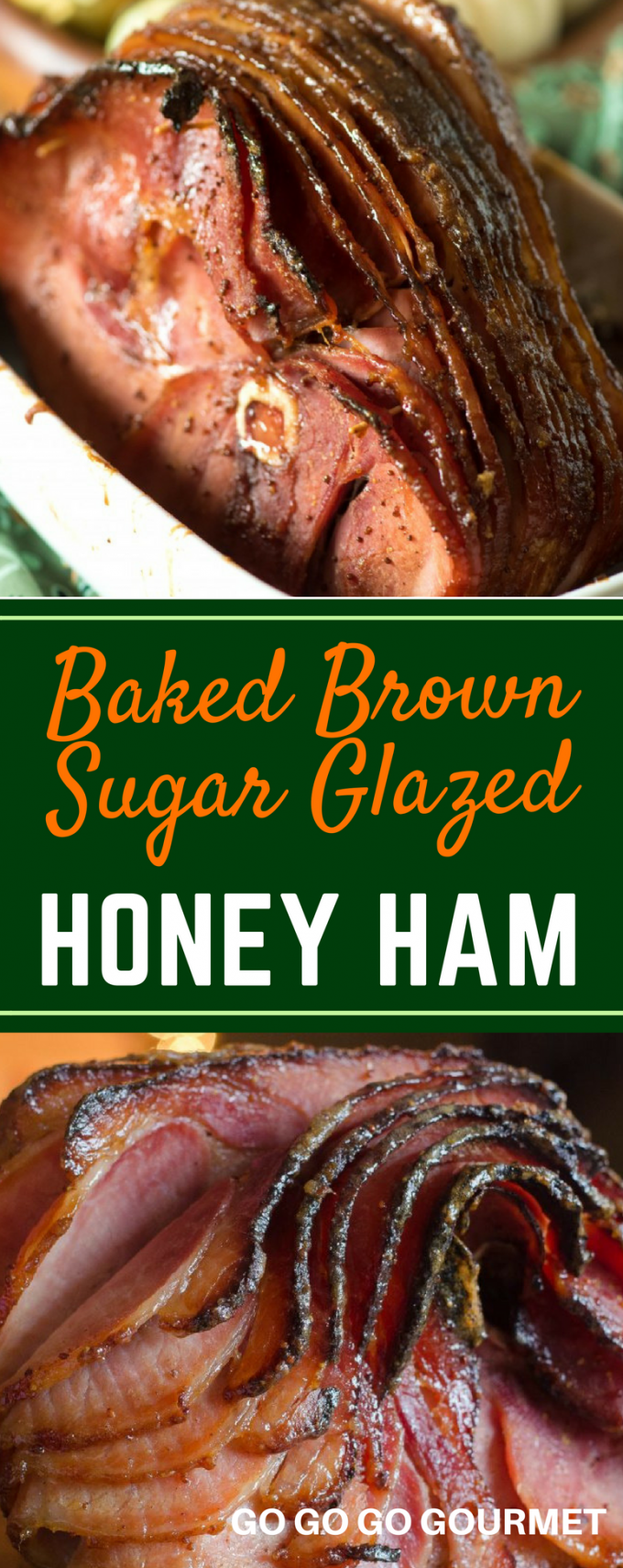 No need to get out the crockpot, this Honey Ham is baked right in the oven! This easy ham makes cooking Thanksgiving dinner a breeze! You'll never need to go looking for ham recipes again. The brown sugar adds just the right amount of sweet, and you could even add pineapple to the glaze! #gogogogourmet #thanksgivingdinnerrecipes #easythanksgivingrecipes #thanksgivinghamrecipes #honeybakedham via @gogogogourmet