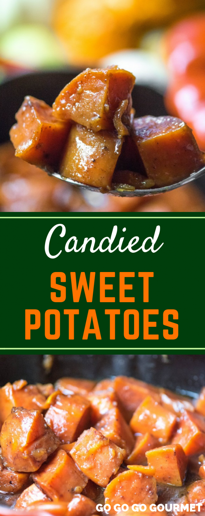 This is one of the best, easy Candied Sweet Potatoes recipes! Baked to perfection in the oven, it makes the perfect side dish for Thanksgiving! Forget the sweet potato casserole topped with marshmallows, this dish is made sweet with plenty of brown sugar. It would even taste great with pecans! #gogogogourmet #candiedsweetpotatoes #thanksgivingsidedishes #thanksgivingrecipes
