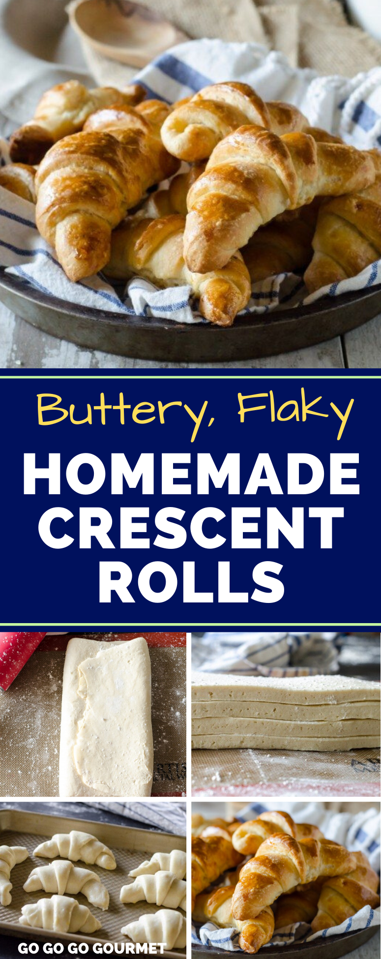 No need to use a bread machine to make this easy Homemade Crescent Rolls recipe! They are flaky and buttery, and promise to be the best bread recipe you've ever tried! It's super quick (besides the time chilling!) #gogogogourmet #homemadecrescentrolls #crescentrolls #homemadebread via @gogogogourmet