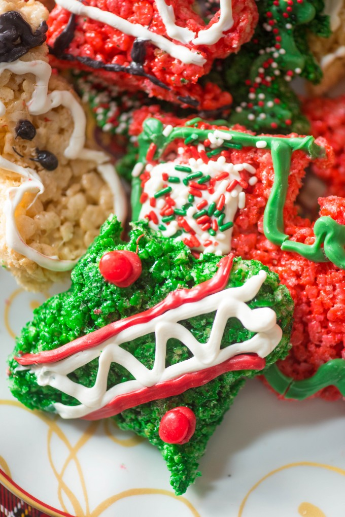 Christmas Cookie Cutouts made from Rice Krispie Treats are a simple holiday treat! | @gogogogourmet