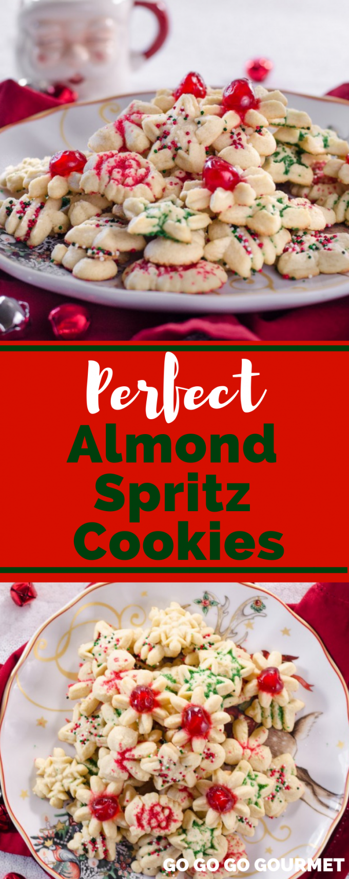 If you're looking for the best Christmas cookie recipes, this is the perfect Almond Spritz Cookies recipe! Ideal for the holidays with fun shapes, it will be one of your favorite desserts! With just a few simple ingredients like butter and eggs, you will enjoy baking these cute cookies. Move over Taste of Home, there's a new holiday cookie in town! #gogogogourmet #almondspritzcookies #christmascookierecipes #christmascookieideas via @gogogogourmet