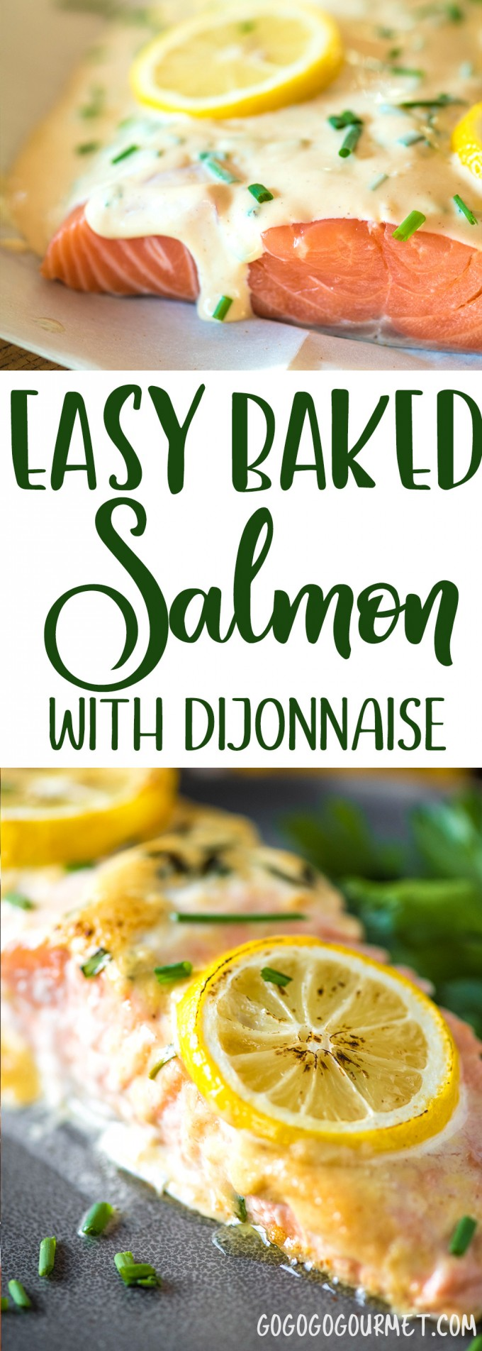 This Easy Oven Baked Lemon Salmon is topped off with an incredible dijonnaise sauce- so fast, its perfect for busy nights! #salmonrecipe #salmon #dinnerideas #dinnertime via @gogogogourmet
