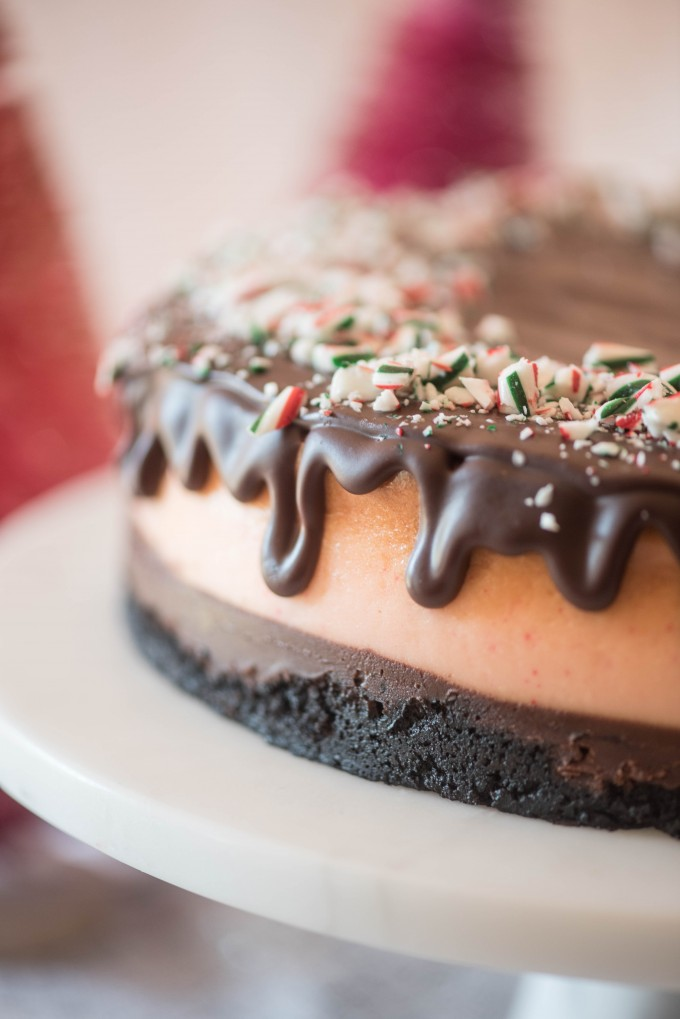Chocolate Peppermint Cheesecake with Oreo Crust and Chocolate Ganache for a Christmas dessert | @gogogogourmet