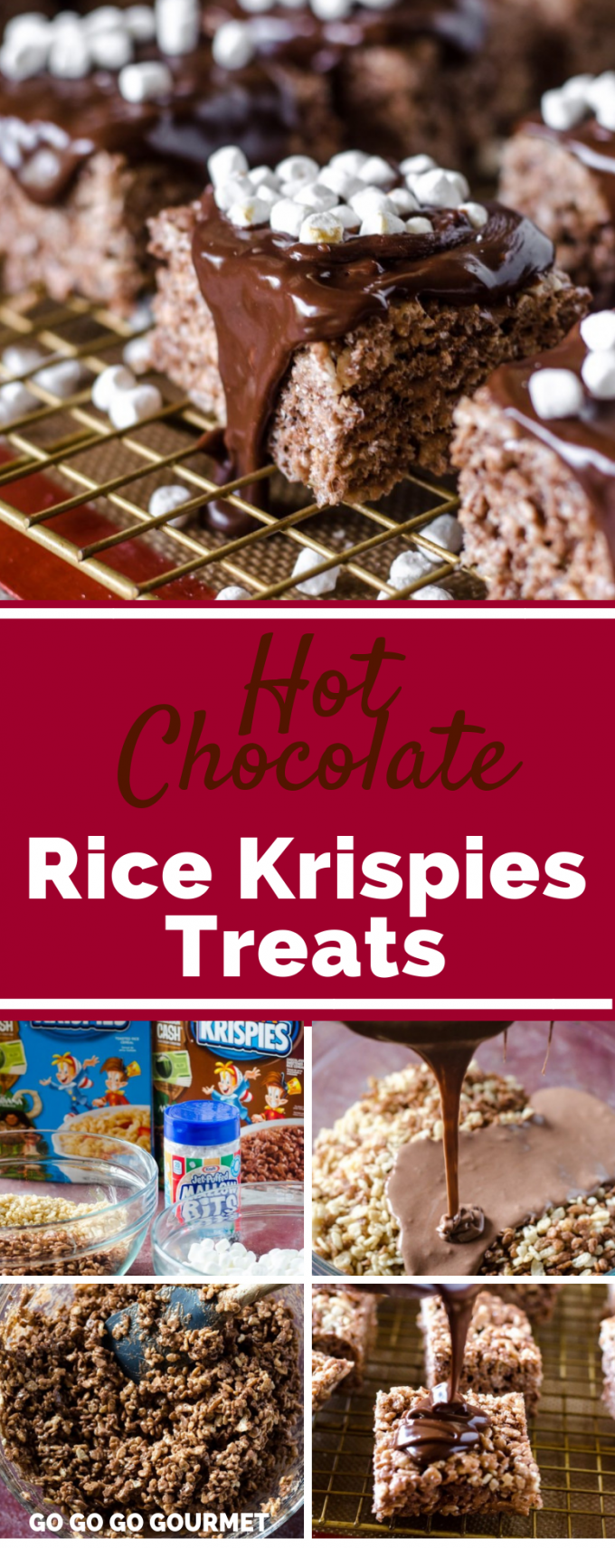 Forget the candy canes, these Hot Chocolate Rice Krispie Treats are a fun and easy no bake treat for the holidays! This recipe doesn't use peanut butter, but has plenty of melty chocolate! Top with mini marshmallows and this recipe will soon become one of your favorite desserts for Christmas! #GoGoGoGourmet #HotChocolateRiceKrispieTreats #ChristmasDesserts #RiceKrispieTreatRecipes #EasyDessertRecipes via @gogogogourmet