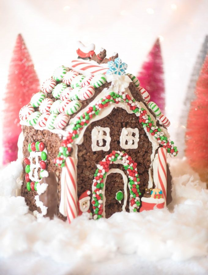 Rice Krispie Treat Gingerbread House + Decorating Ideas