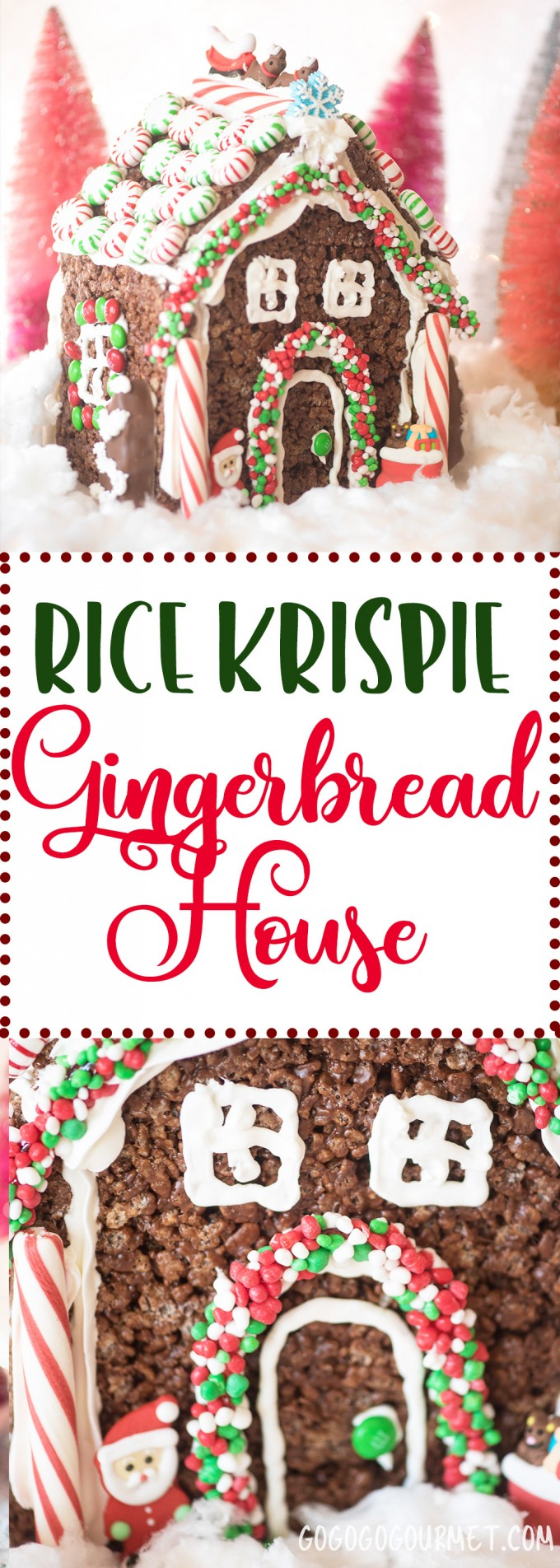 Maybe the easiest idea ever for building a gingerbread house from scratch! No bake, easy recipe and virtually no fuss- get decorating with the kids sooner! The perfect Rice Krispie Treats for Christmas.