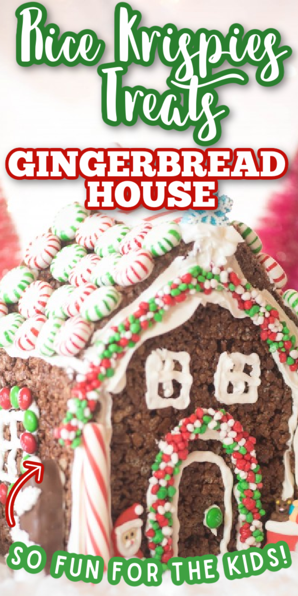 If you're wondering how to make a gingerbread house, this may be one of the easiest ideas ever for building a gingerbread house from scratch! No bake, easy recipe and virtually no fuss- makes decorating for kids easy! The perfect Rice Krispie Treats for Christmas. #gogogogourmet #ricekrispietreatgingerbreadhouse #gingerbreadhouserecipe #christmasrecipes via @gogogogourmet