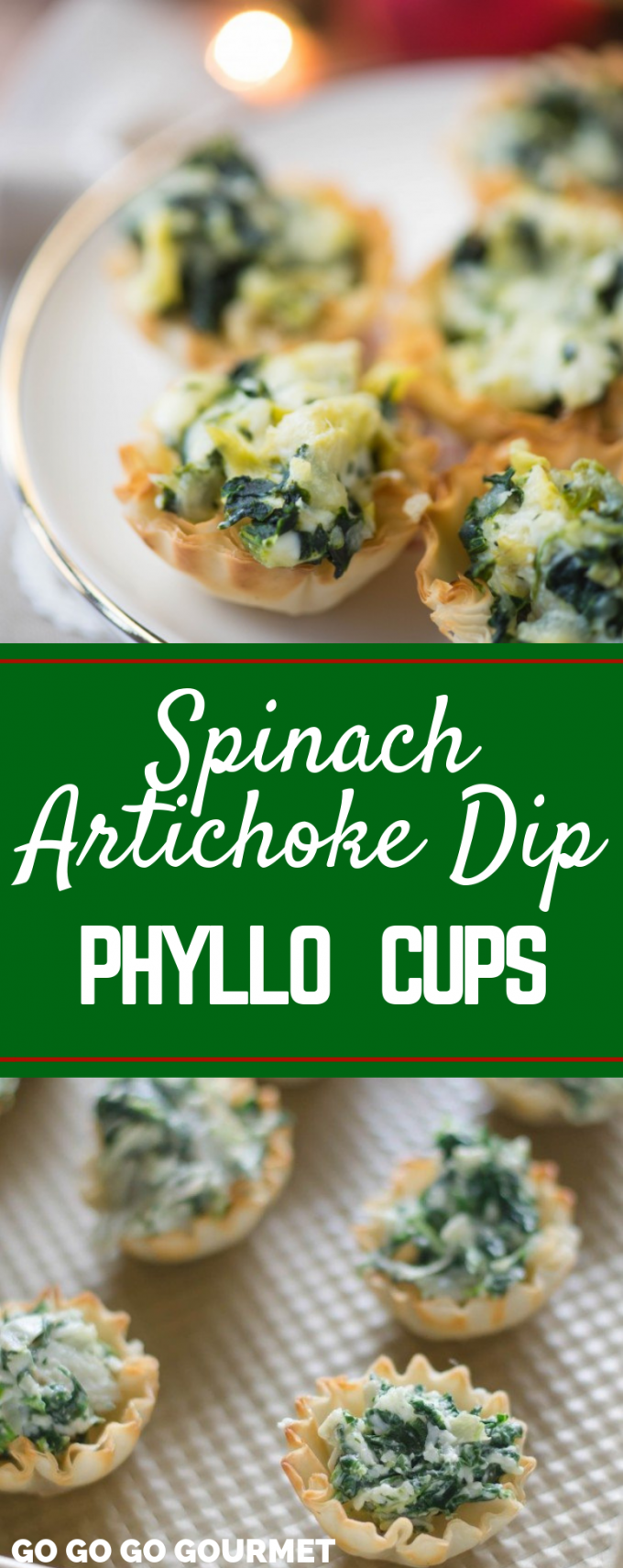 These easy Baked Spinach Artichoke Dip Cup Bites are the perfect party appetizers! Full of veggies, this recipe is one of the best finger foods! Make or freeze them ahead of time and bake when you need them! #gogogogourmet #spinachartichokedipbites #appetizer #christmas #partyfoods #partyfoodrecipes #holidayparty  via @gogogogourmet