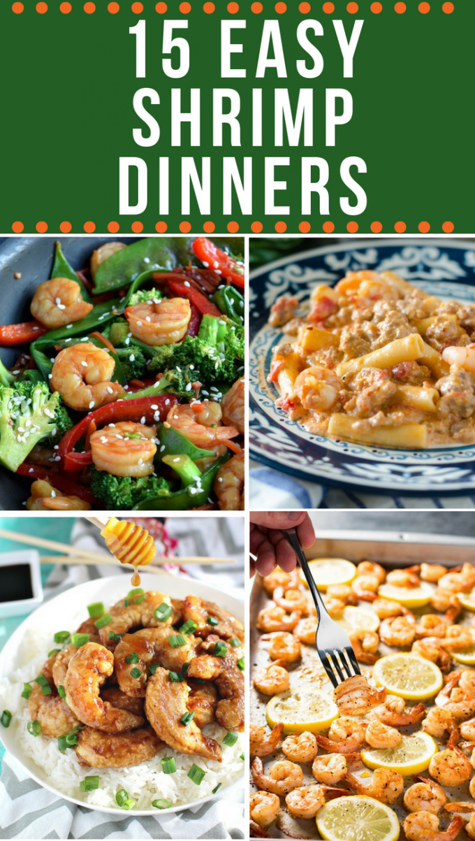 15 easy shrimp recipes for dinner! Tons of quick and healthy simple meals, including pasta, rice dishes, and a delicious baked lemon shrimp! #shrimp #seafood #pasta #gogogogourmet via @gogogogourmet