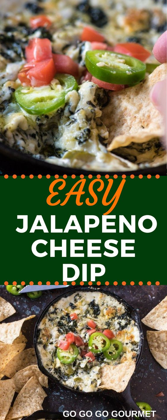 This Easy Spicy Jalapeno Spinach Dip recipe is baked right in the oven to make the perfect Super Bowl snack! You could even add bacon to kick it up a notch! #superbowl #superbowlfood #cheesedip #spinachdip #gogogogourmet