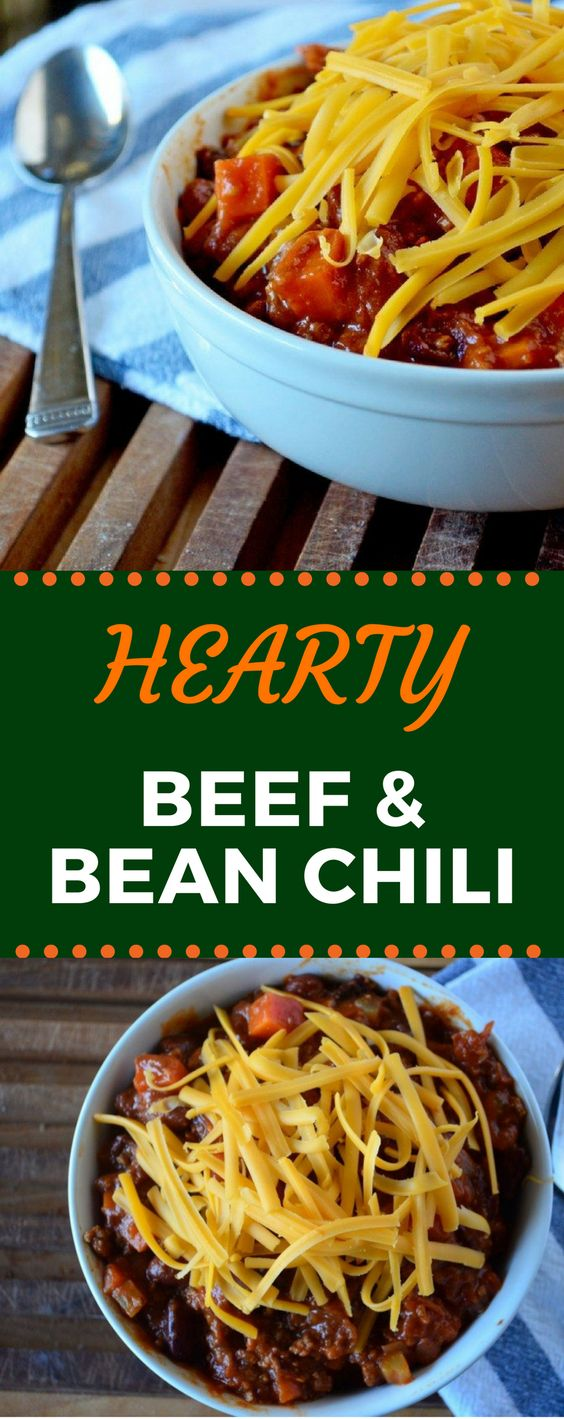 This Hearty Beef and Bean Chili is the best comfort food! It's packed with plenty of meat, and the easy-to-follow recipe will make dinner a breeze! #comfortfood #easydinnerrecipe #easychilirecipe #gogogogourmet via @gogogogourmet