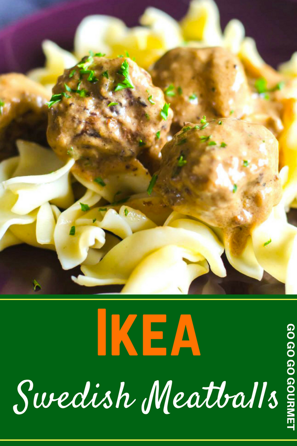 This Ikea Swedish Meatballs recipe is the perfect copycat for the tender little meatballs in delicious gravy at Ikea! Comfort food dinners has never been as easy as this! You can make the sauce and then throw everything in the crockpot. Serve over mashed potatoes with some sour cream for a meal the whole family will love! #easycopycatrecipes #ikeaswedishmeatballs #easyweeknightmeals #gogogogourmet