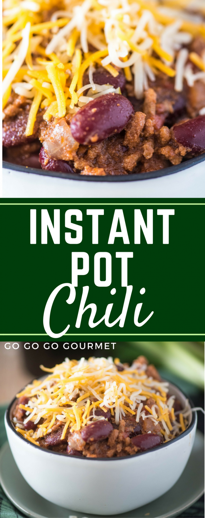 This Instant Pot Chili recipe is easy, fast, and chock full of ground beef, hearty beans and big flavors! | @gogogogourmet