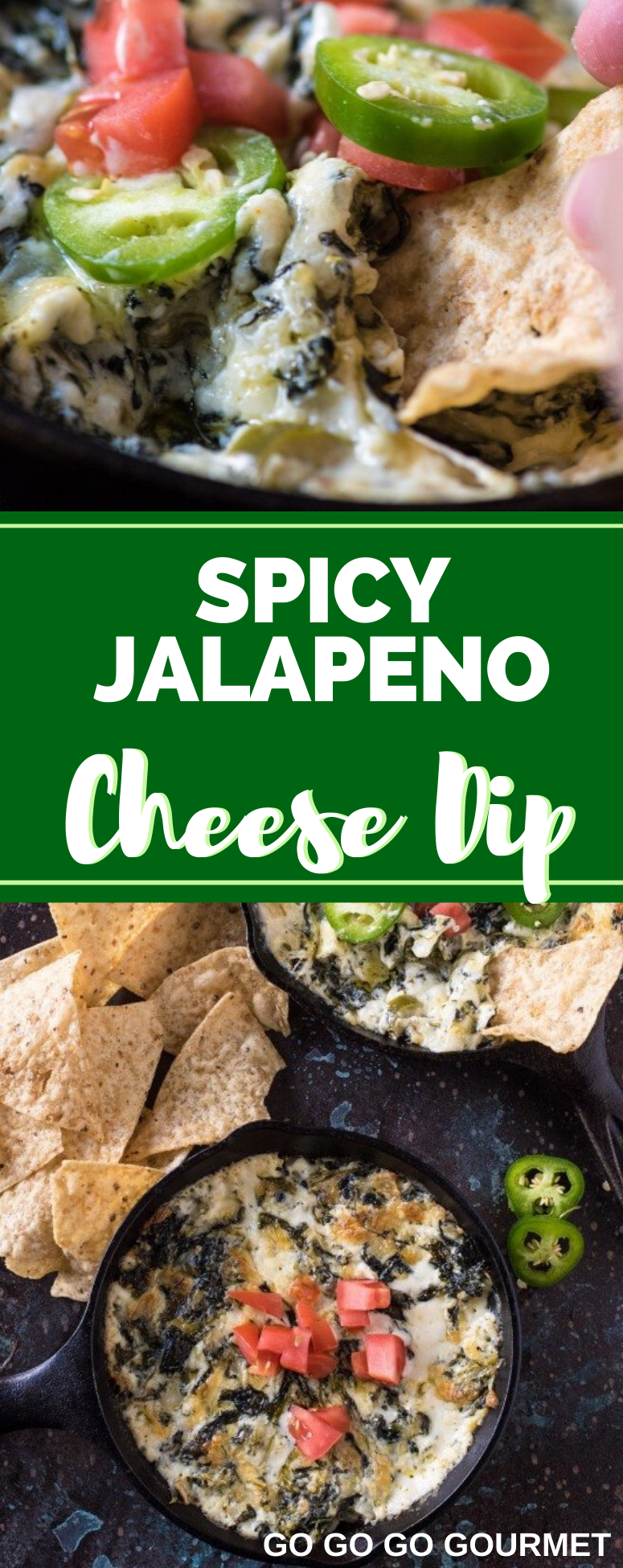 This Easy Spicy Jalapeno Spinach Dip recipe is baked right in the oven to make the perfect Super Bowl snack! You could even add bacon to kick it up a notch! #superbowl #superbowlfood #cheesedip #spinachdip #gogogogourmet via @gogogogourmet
