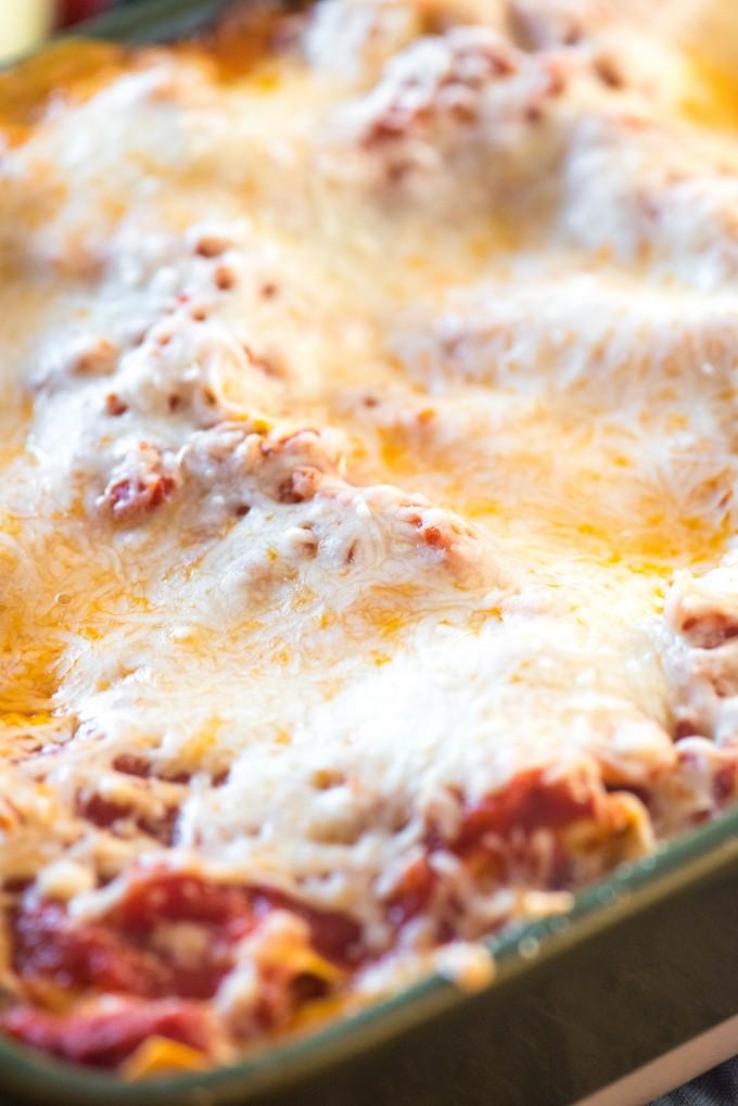 Pan of classic lasagna