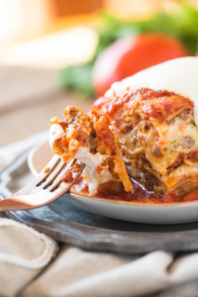 bite of lasagna on a fork