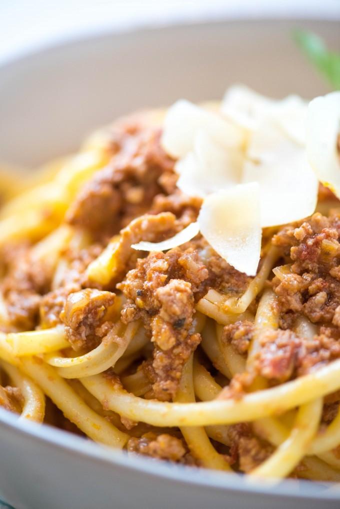 crockpot spaghetti bolognese in a white bowl