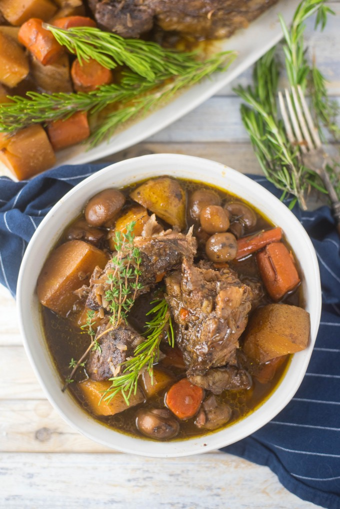 Chuck Roast Recipe for Crock Pot with potatoes, carrots and mushrooms