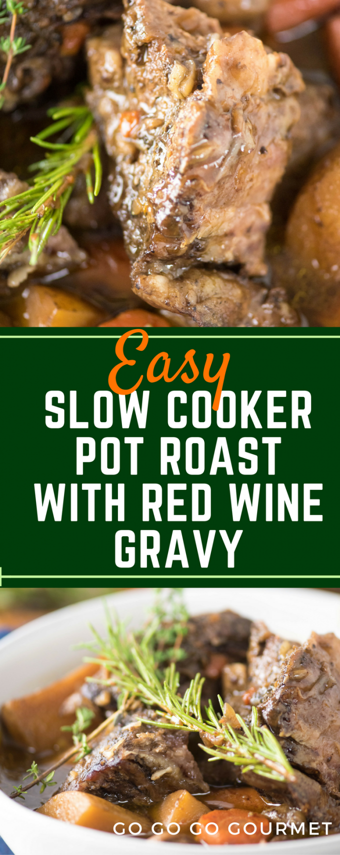 This easy Slow Cooker Pot Roast cooks all day in the crockpot with a smattering of cold-weather vegetables, red wine, and onion soup mix and has the most delicious gravy! #slowcooker #beef #potatoes #potroast via @gogogogourmet
