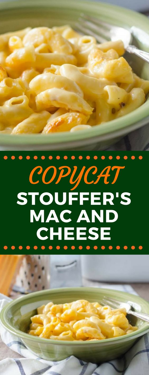 This Copycat Stouffer's Mac and Cheese recipe is the best comfort food hack! This creamy, cheesy dinner idea will leave you wanting more! #copycatrecipes #macandcheese #souffersmacandcheese #easydinnerrecipes #gogogogourmet