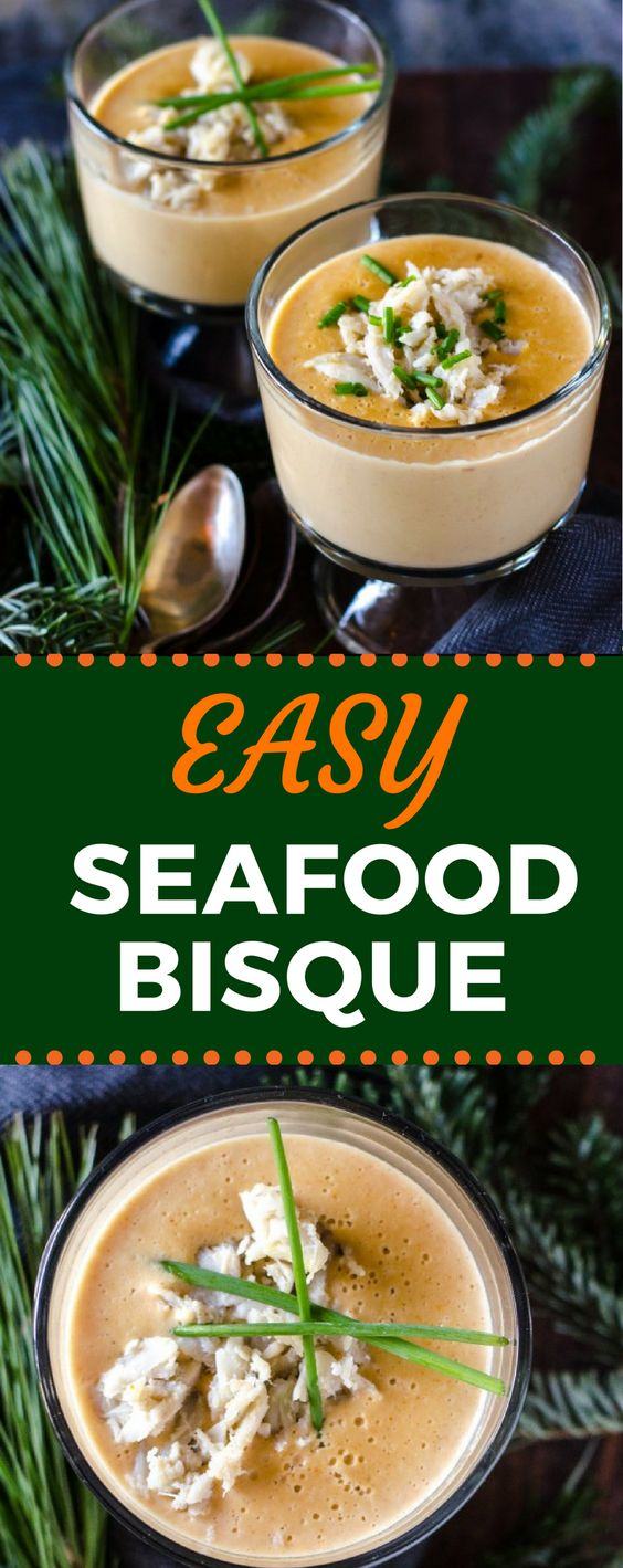 This Easy Seafood Bisque recipe is chock full of crab and shrimp! When you're craving a creamy and comforting soup for dinner, this bisque is the answer! #seafoodbisque #seafoodrecipes #comfortfood #gogogogourmet