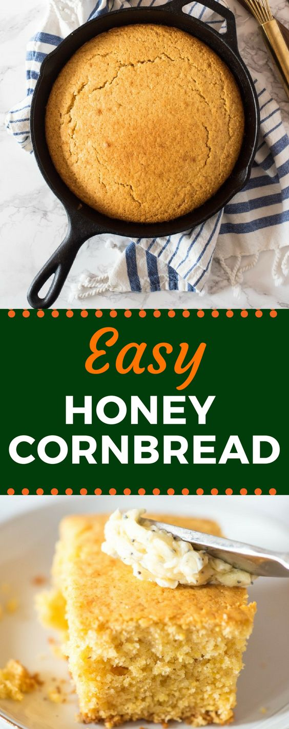 Forget the Jiffy! This Easy Honey Cornbread recipe is baked in a cast iron skillet, yielding a moist inside with crispy edges and just a touch of sweetness. Pair it with my delicious honey poppyseed butter. #honeycornbread #cornbreadrecipe #castironskillet #gogogogourmet via @gogogogourmet