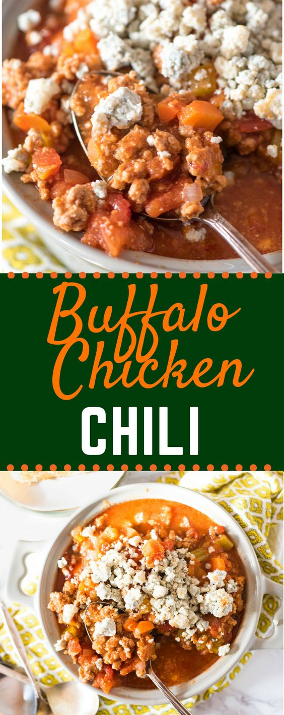 These easy Buffalo Chicken Chili is an easy twist of Rachel Ray's recipe, and is basically a healthy twist of everyone's dame day favorite-chicken wings! Make on the stove, or in the crockpot, slow cooker or Instant Pot! #buffalochickenchili #gamedayfood #buffalochicken #crockpotrecipes #gogogogourmet