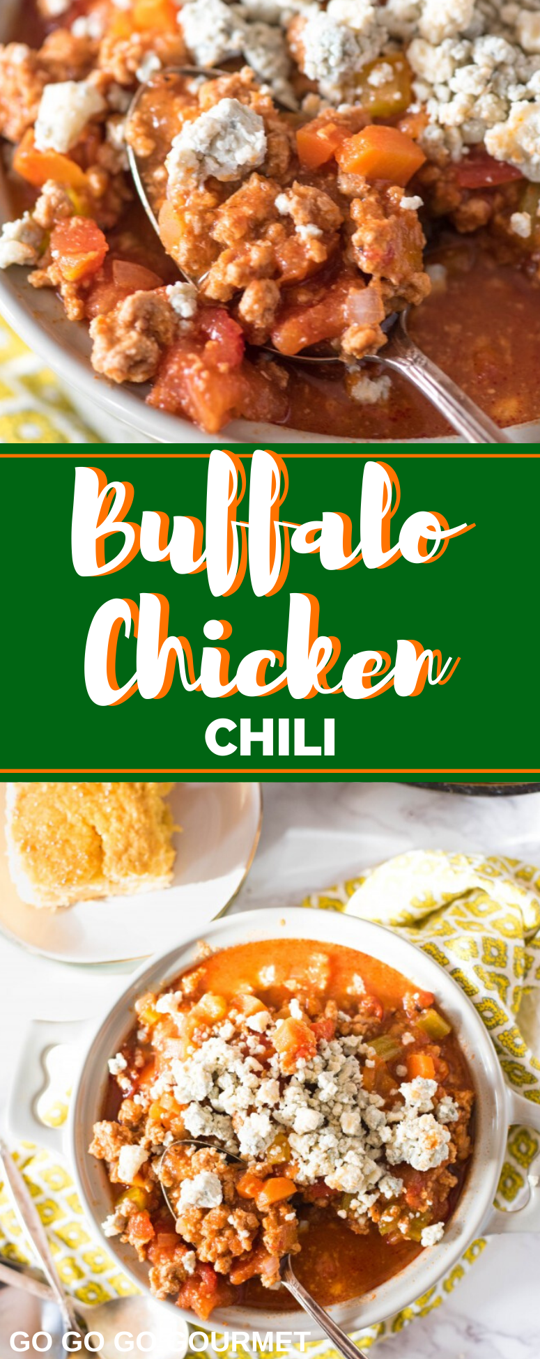 These easy Buffalo Chicken Chili is an easy twist of Rachel Ray's recipe, and is basically a healthy twist of everyone's dame day favorite-chicken wings! Make on the stove, or in the crockpot, slow cooker or Instant Pot! #buffalochickenchili #gamedayfood #buffalochicken #crockpotrecipes #gogogogourmet via @gogogogourmet