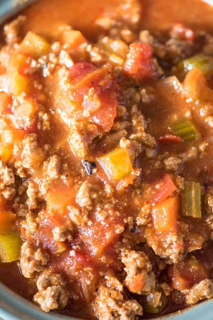 Close up of plain Buffalo Chicken Chili