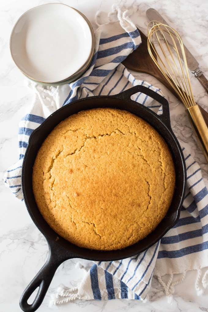 Easy Homemade Corn Bread recipe in a cast iron skillet