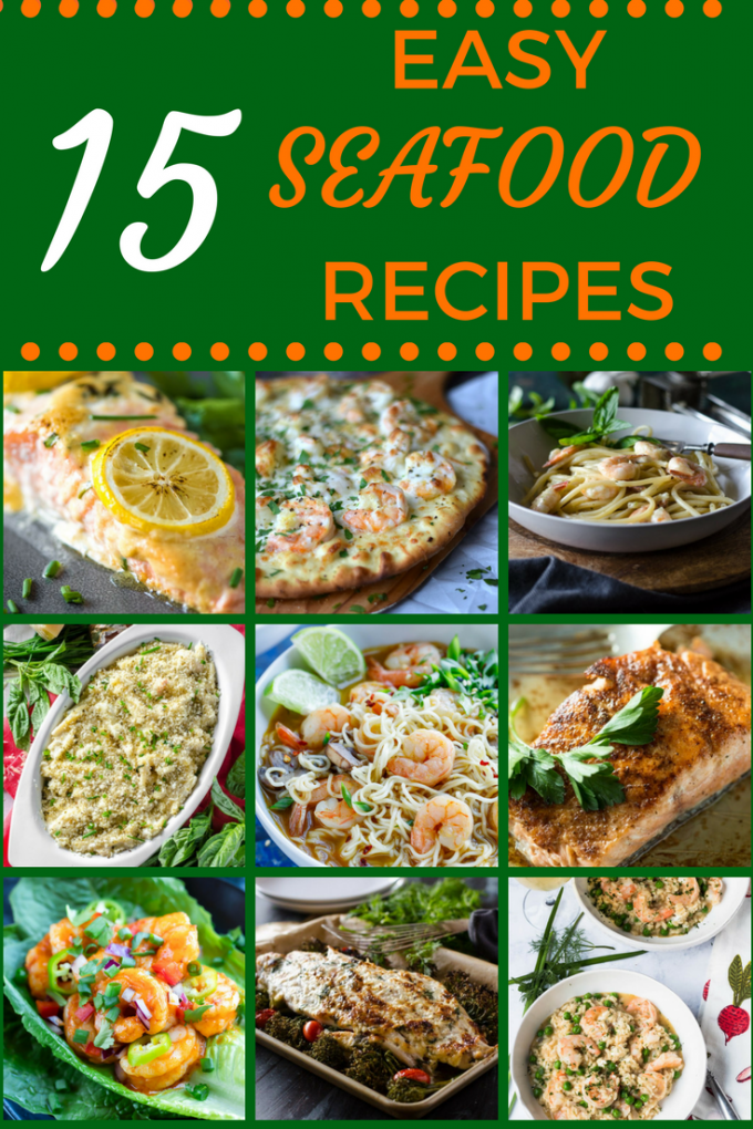 These 15 Easy Seafood Recipes will make Friday night dinners simple during lent! With ingredients like crab and shrimp, you'll find healthy and quick dinners-even soup! #lentdinners #seafood #seafoodrecipes #easydinnerrecipes #gogogogourmet via @gogogogourmet