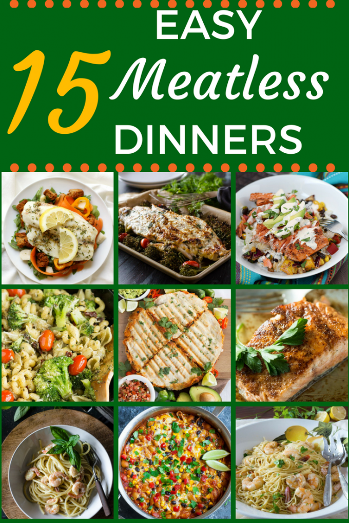 These 15 Easy Meatless Dinner recipes take all the guesswork out of what to eat for Lent! There are plenty of delicious main dishes that are healthy, and filling. You'll even find some for the kids! #recipesforlent #meatlessrecipes #easymeatlessdinners #dinnersforlent #gogogogourmet via @gogogogourmet