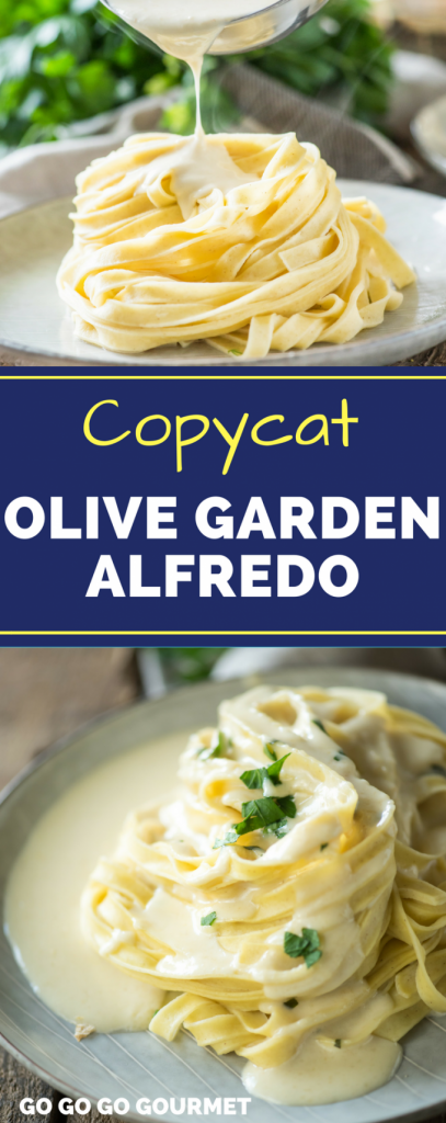 Collage of Olive Garden alfredo sauce for Pinterest