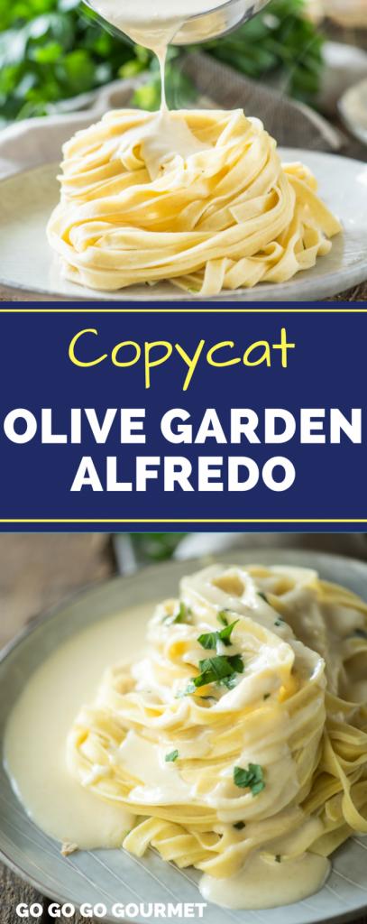 Collage of Olive Garden alfredo sauce for Pinterest